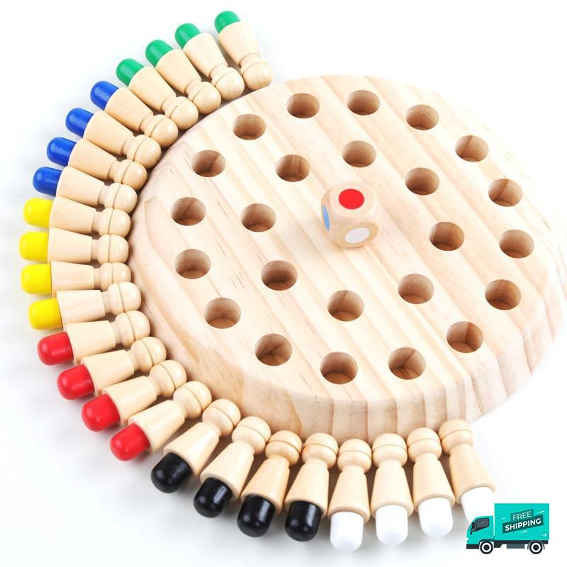 Wood memory match game with sticks
