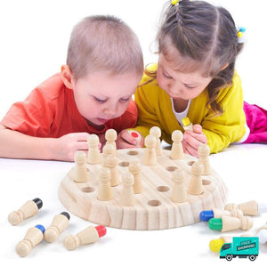 Kids playing Wood memory match game