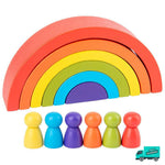 Wooden Rainbow Blocks With People Characters