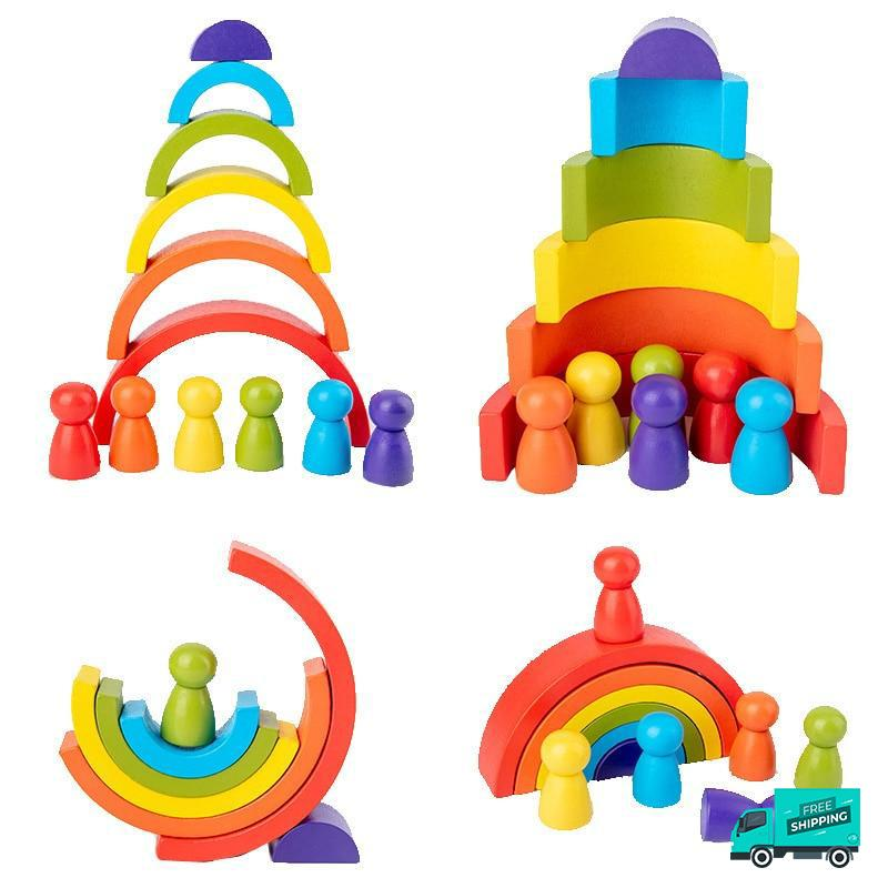 Wooden Rainbow Blocks in Different combinations