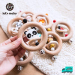 Wooden Rattle Rings Collection 1 with hand
