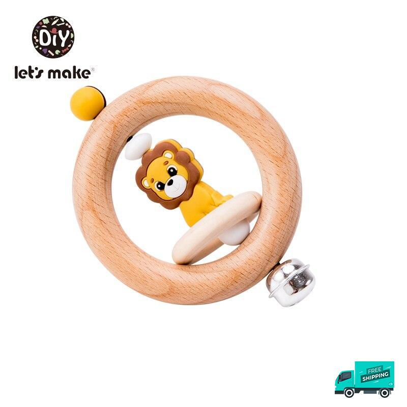 Lion wooden rattle