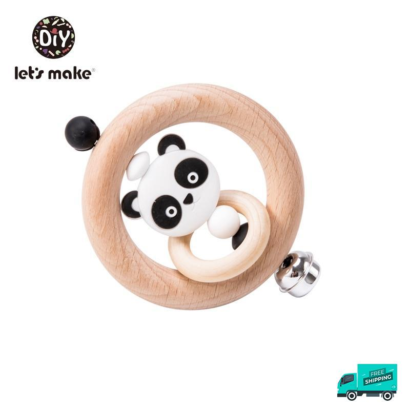 Panda wooden rattle design 2