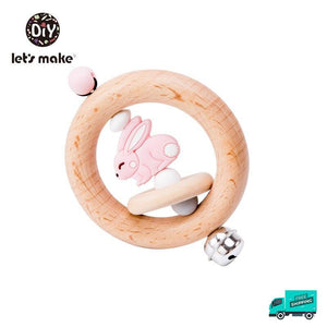 Rabbit wooden rattle