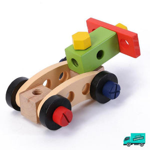Sample of wooden toy car made from wooden tool box