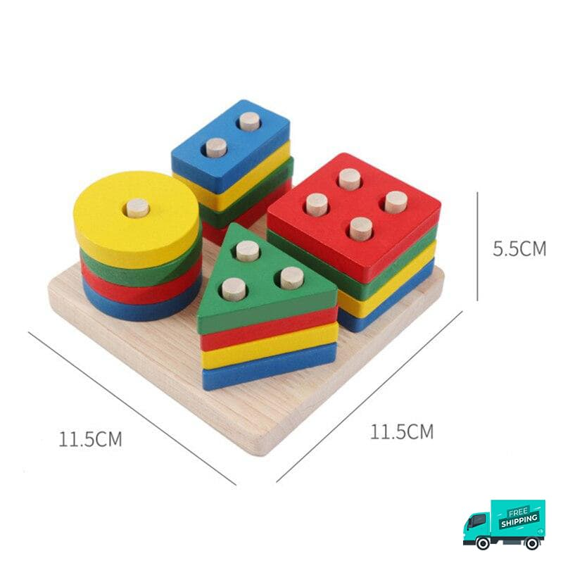 Wooden Toy Building Shape Blocks different colours and showing sizes