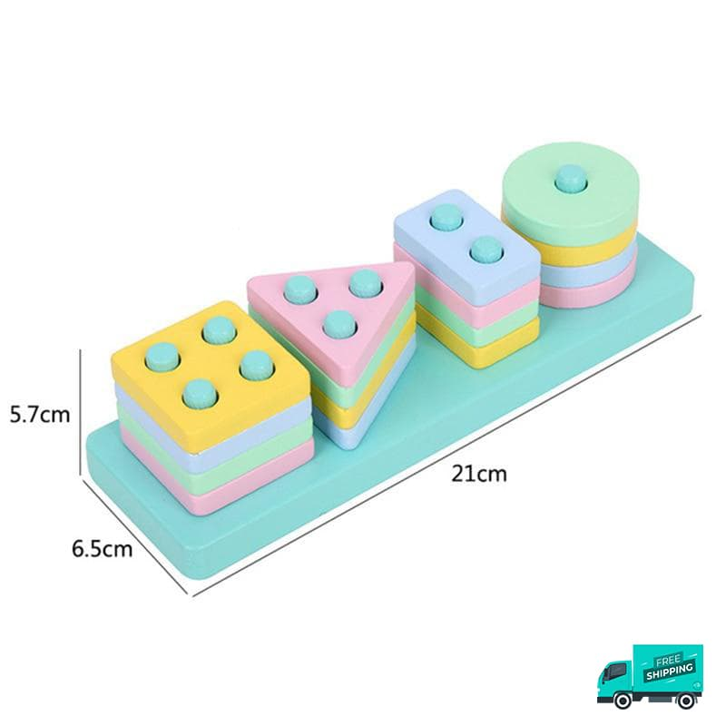 Wooden Toy Building Shape Blocks light colours with sizes