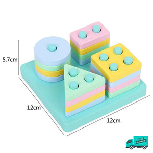Wooden Toy Building Shape Blocks in light colours and sizes