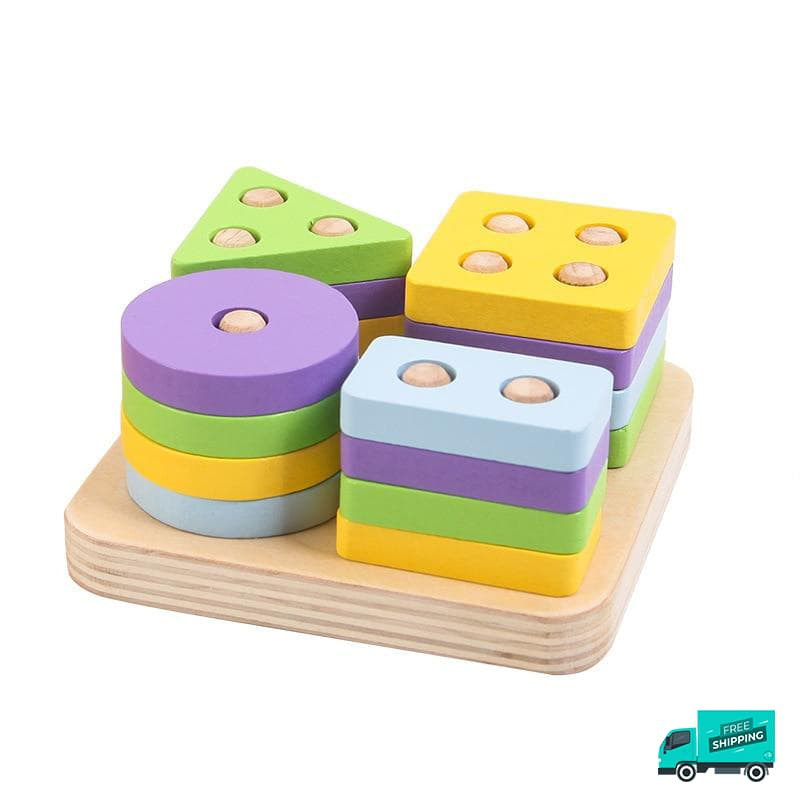 Wooden Toy Building Shape Blocks and different colours