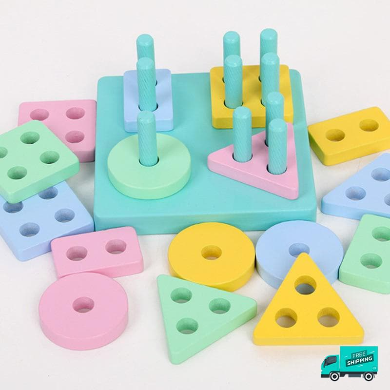Wooden Toy with different shapes and colours