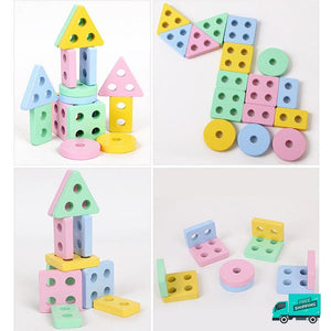 Wooden Toy Building Shape Blocks showing different assmebly
