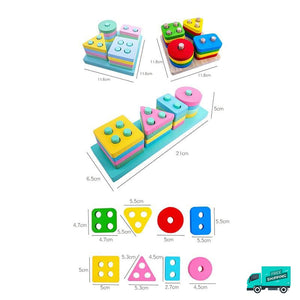 Wooden Toy Building Shape Blocks and Sizes