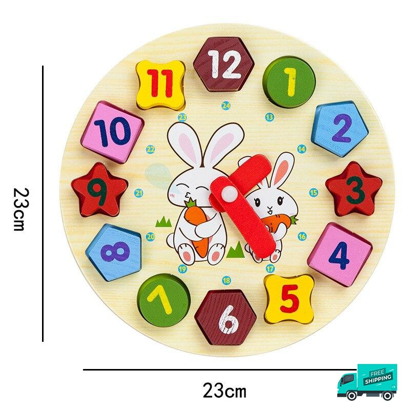 Wooden Toy Shape Blocks in Clock Design