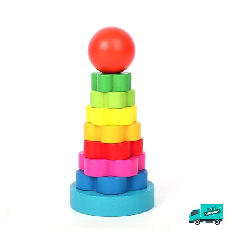 Wooden Toy Building Flower Shape Block Tower
