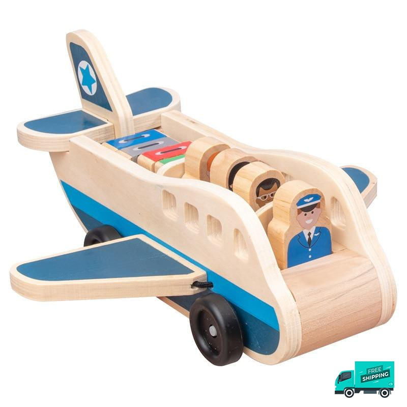 Wooden Airplane with pilot and passengers