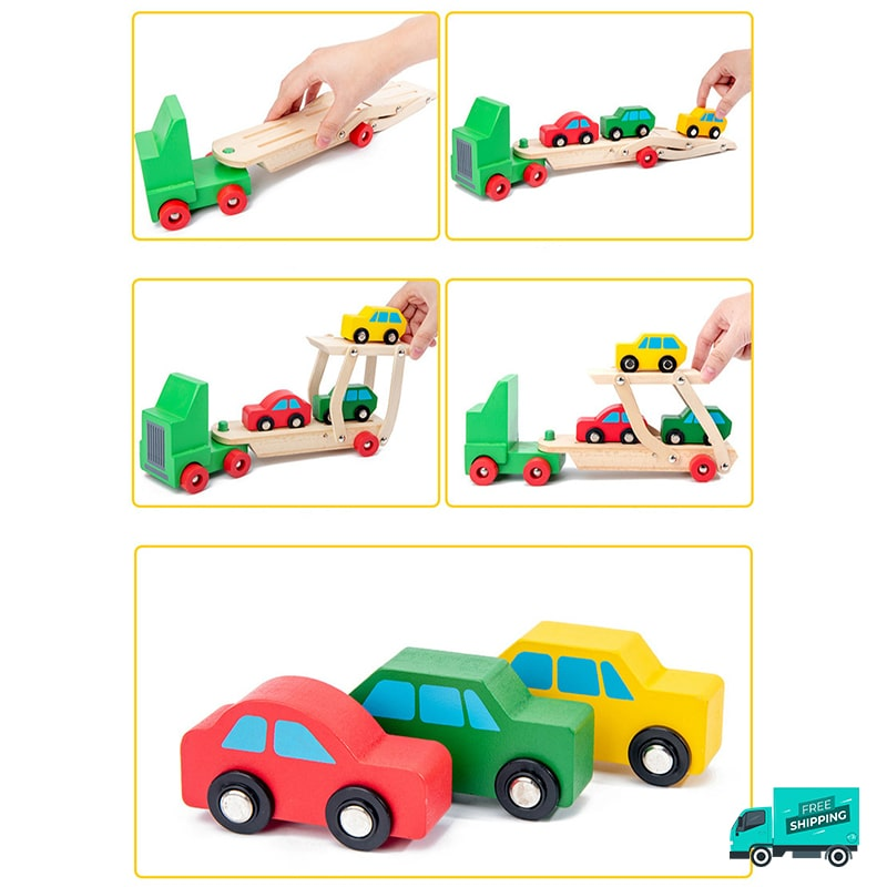 how to play wooden transporter with cars