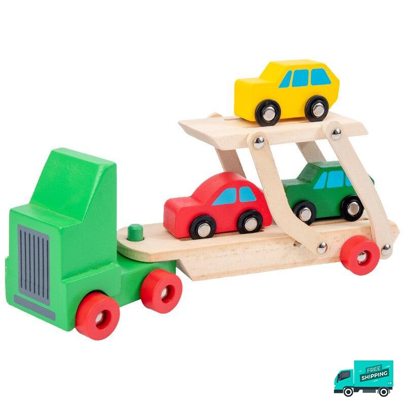 Wooden transporter truck with cars