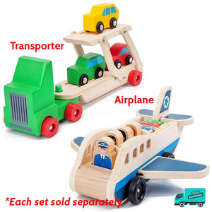 Wooden Transport Toys Set Collection