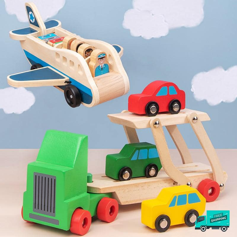 Wooden airplane and transporter