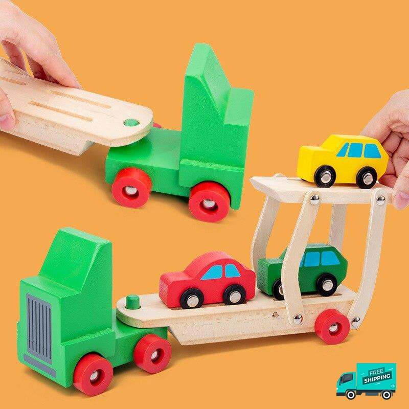 Playing in action of wooden transporter