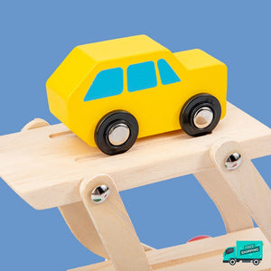 Yellow wooden car in transporter