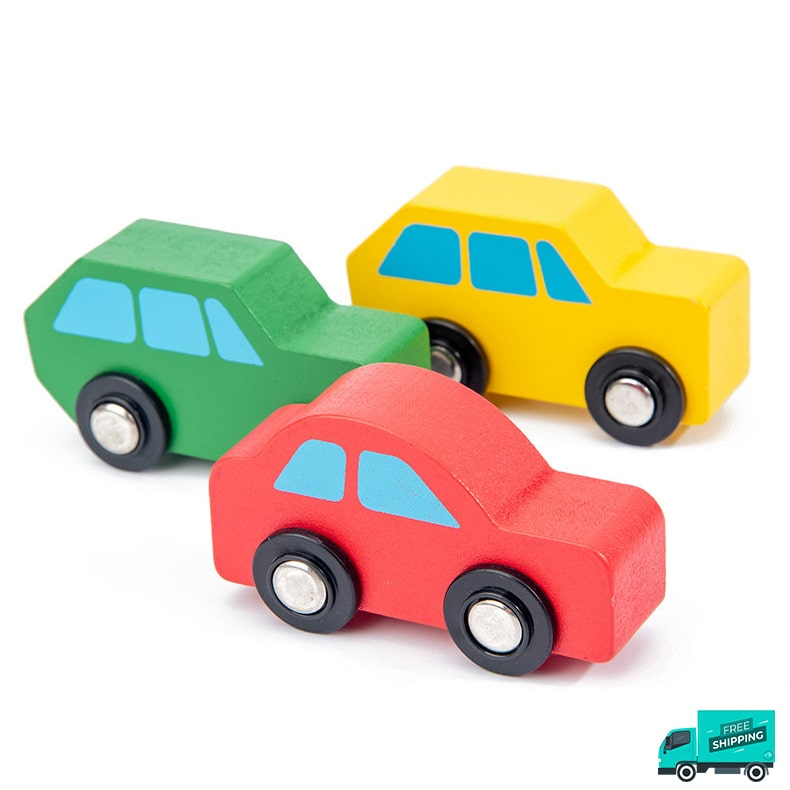 yellow, green and red wooden cars