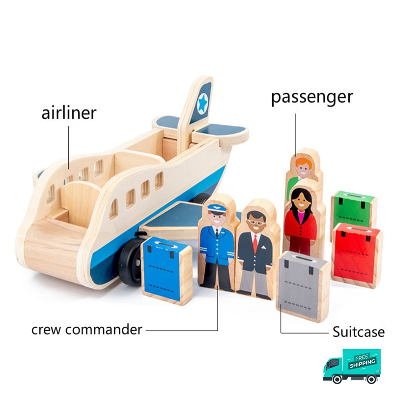 Wooden airplane with pilot and passengers with luggages