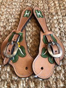 Hand Painted Western Spur Straps // Green White Floral