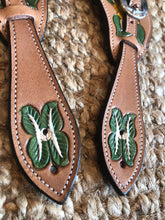 Load image into Gallery viewer, Hand Painted Western Spur Straps // Green White Floral