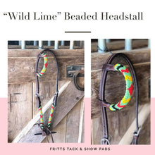 "Load image into Gallery viewer, ""Wild Lime"" Beaded One Ear Headstall"