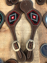 "Load image into Gallery viewer, ""Crimson Silver"" Beaded Western Spur Straps"
