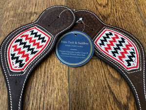 """Midnight Ruby"" Beaded Western Spur Straps"