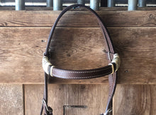 Load image into Gallery viewer, Rawhide Full Browband Western Horse Headstall - Hand Braided Rawhide - Natural/Black Rawhide - Fritts Tack & Show Pads