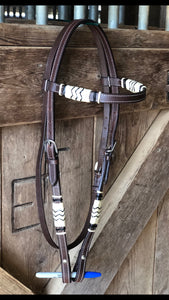Rawhide Full Browband Western Horse Headstall - Hand Braided Rawhide - Natural/Black Rawhide - Fritts Tack & Show Pads