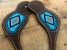 "Load image into Gallery viewer, ""Turquoise Diamonds"" Beaded Spur Straps"