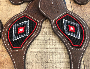 """Crimson Silver"" Beaded Western Spur Straps"