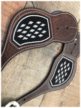 "Load image into Gallery viewer, ""Black Diamonds"" Beaded Western Spur Straps"