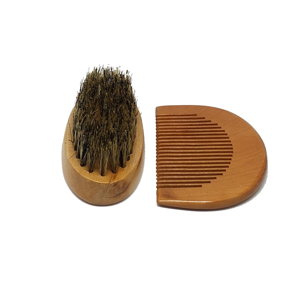 Beard and Mustache Brush & Comb Set