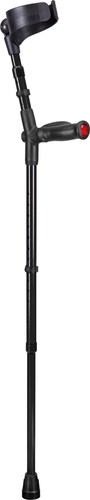 german ossenberg high-quality forearm crutches with closed cuff and anatomic soft handgrips. Color: black