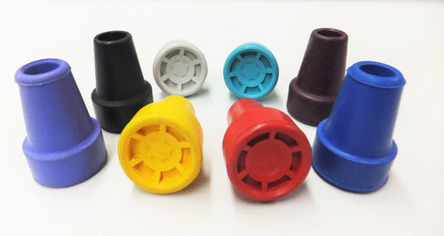 Kowsky crutch tips for adults in several colors: lilac, blck, grey, turquoise, blackberry, blue, red and yellow.