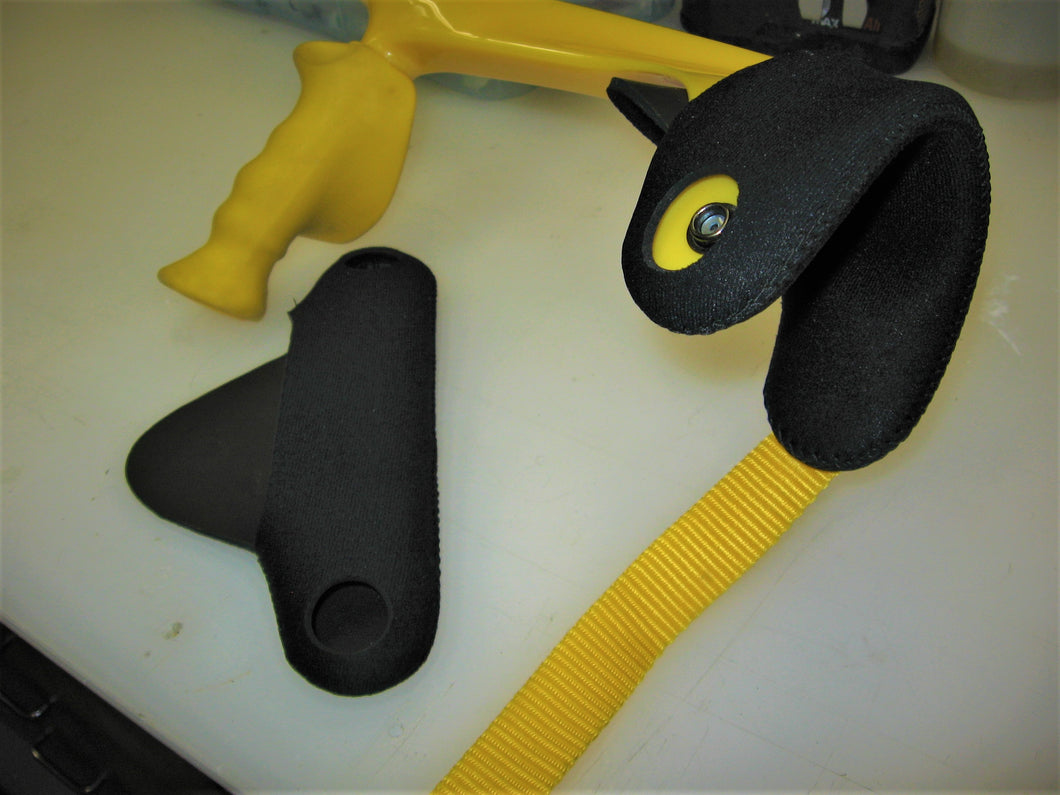 neoprene cuff cover for open cuff forearm crutches installed on yellow Kowsky crutches