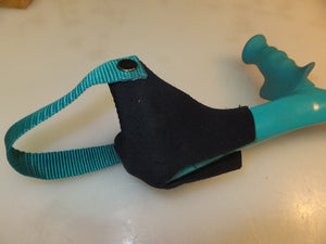 neoprene cuff cover for open cuff forearm crutches installed on turquoise Kowsky crutches