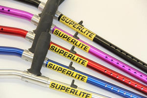 enabling tech superlite custom aluminum forearm crutches in several tubes colors: black, pink, red, blue and silver