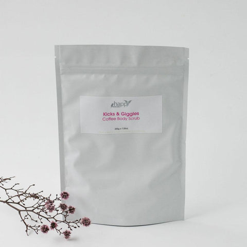 <br>HAPPY SKINCARE</br> 'Kicks and Giggles' Coffee Body Scrub *New*