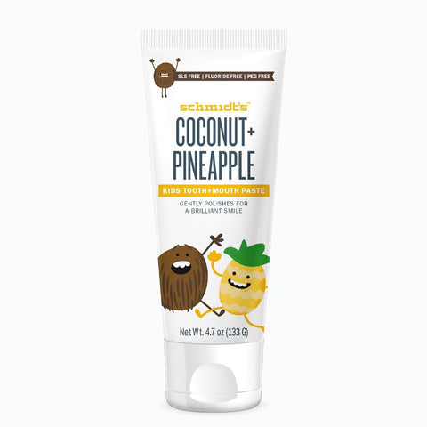 <br>Schmidt's Naturals</br> Coconut + Pineapple Kids Tooth+Mouthpaste *New*