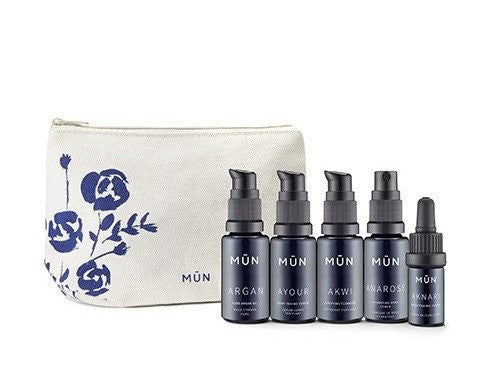 <br>MUN</br> Travel Set (Cleanser, Toner, Youth Serum, Body Toning Serum, Argan Oil)