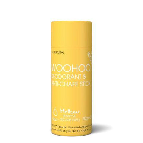 <br>HAPPY SKINCARE</br> Woohoo! All Natural Deodorant & Anti-Chafe Stick - Mellow - *NEW*