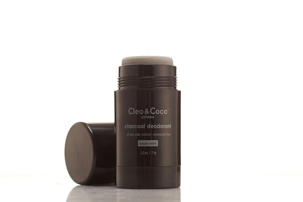 <br>Cleo & Coco</br> Charcoal Deodorant - Unisex Basil Mint Scent