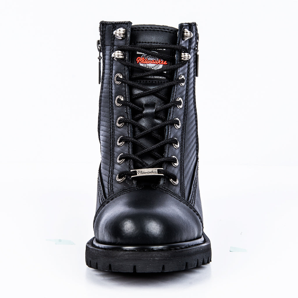 Black, Size 8.5EE Milwaukee Motorcycle Clothing Company Accelerator Leather Mens Motorcycle Boots