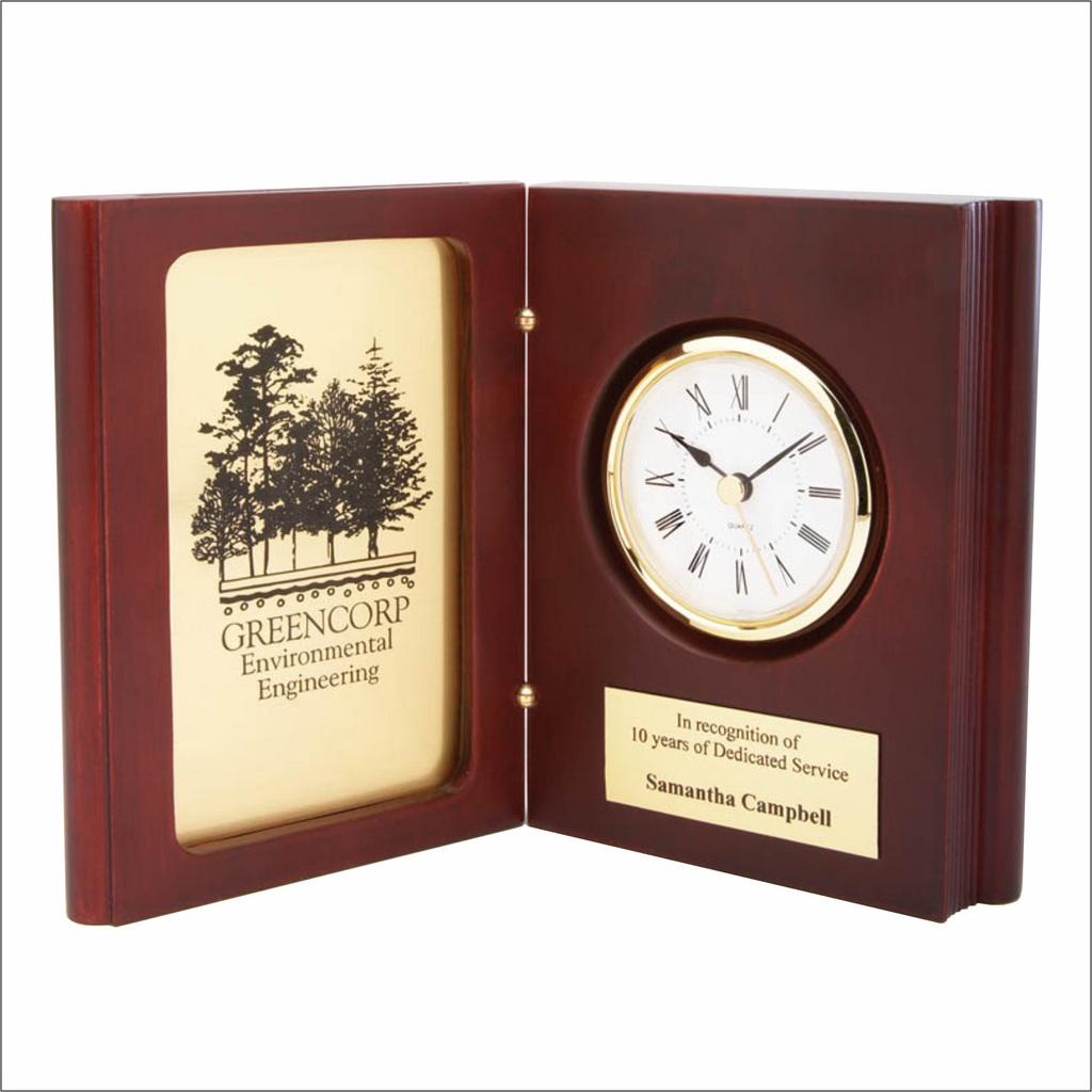 Book Clock - Rosewood / Gold